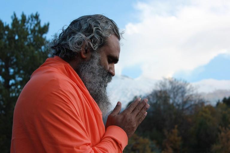 Sadhu doing yoga