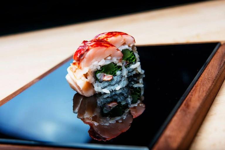 Salmon sushi in one of Norway's best restaurants