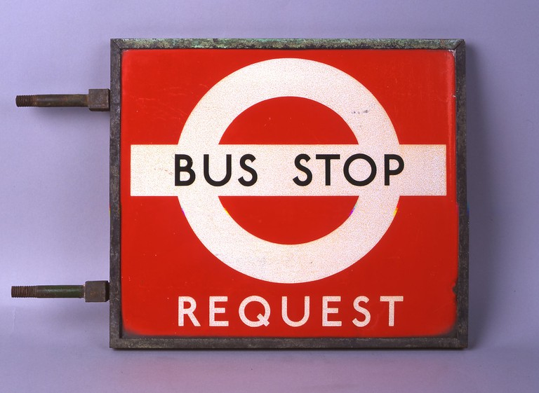 Schleger style bus stop flag- © TfL from the London Transport Museum collection
