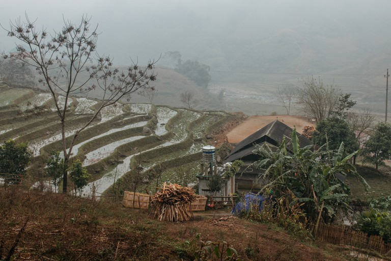 View of H'Mong home from the road, near Sapa, Vietnam