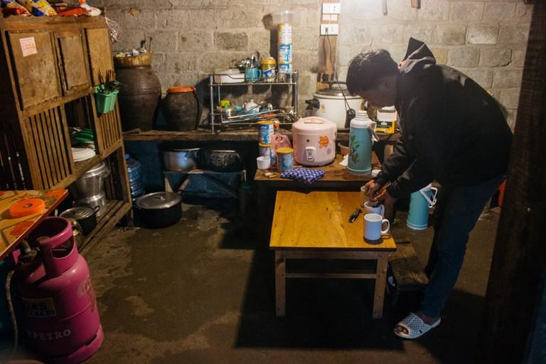 Making warm drinks in the kitchen