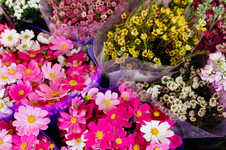 The flowers are presented in beautiful baskets, or bundled together and wrapped in bouquets