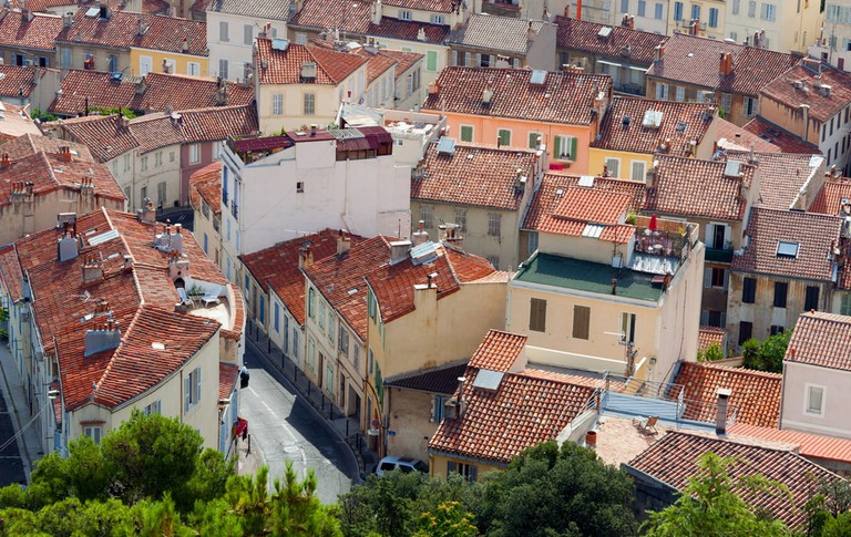 The rooftops of Marseille show the huge income inequality
