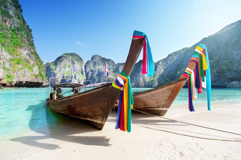 Long-tailed boats at Maya Bay, Koh Phi Phi Le, Thailand
