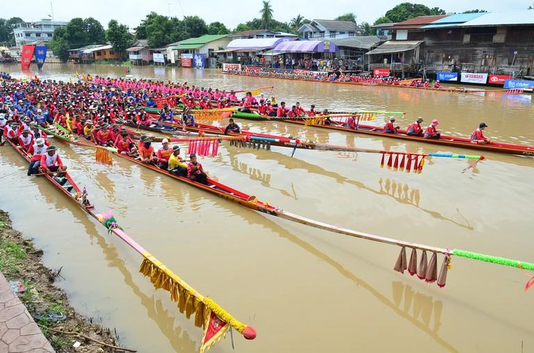 Boat races in Singburi, Thailand