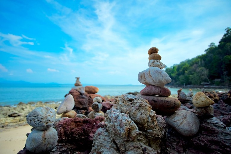 Rocks on the beach at Koh Phayam, off the coast of Ranong, Thailand
