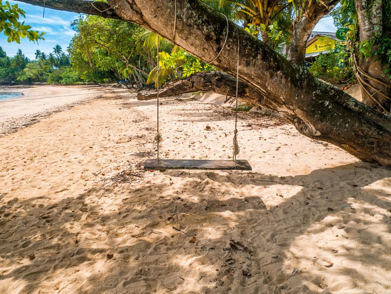 Inviting swing on the tropical beach of Koh Yao Noi, Thailand