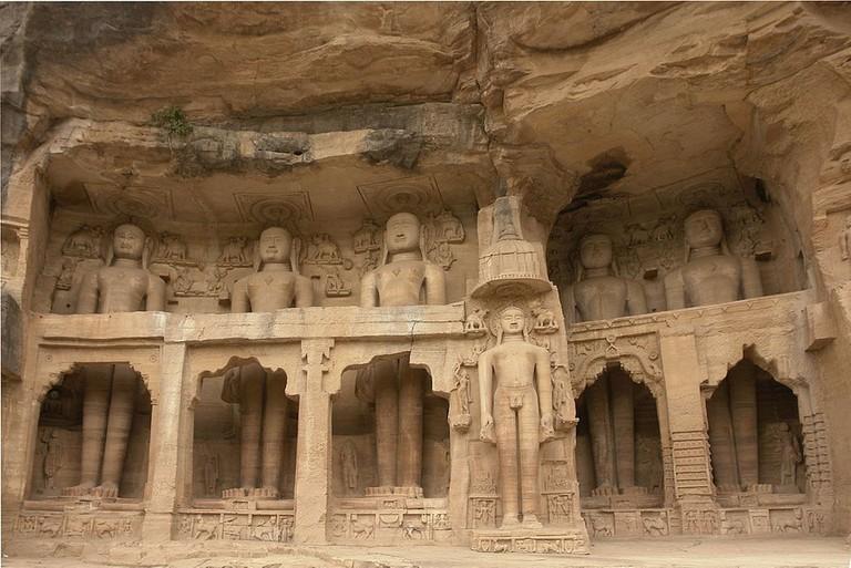 Rock-cut Jain statues at Siddhachal caves, Gwalior Fort
