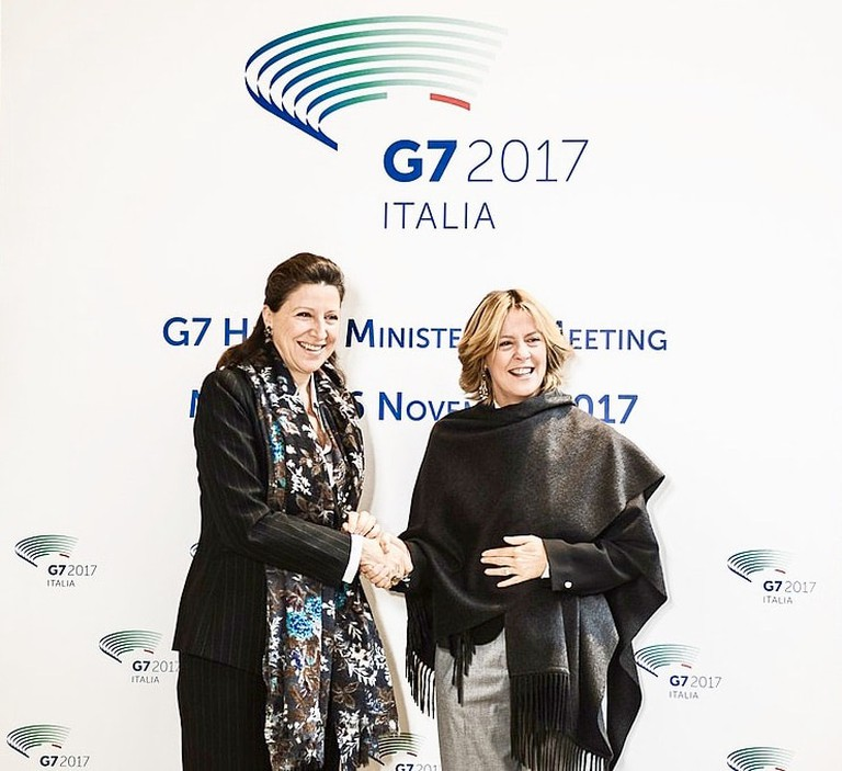 French health minister Agnès Buzyn (left) with her Italian counterpart Beatrice Lorenzin |