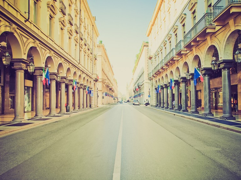 The grand porticoes of Via Roma, Turin | Shutterstock/Claudio Divizia