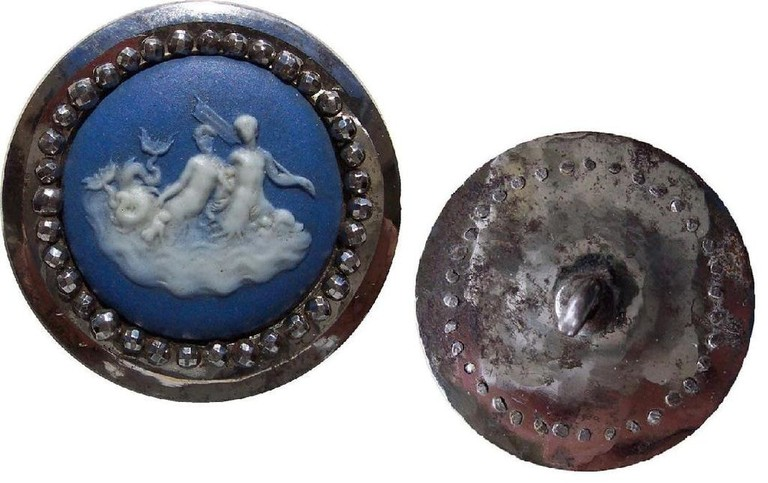 Wedgwood button with Boulton cut steels, c. 1760