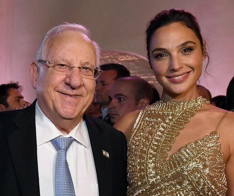 Israeli President Reuven Rivlin with actress Gal Gadot