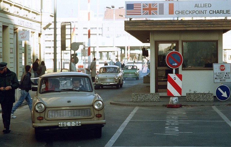 View to East-Berlin at Checkpoint Charlie in November 1989