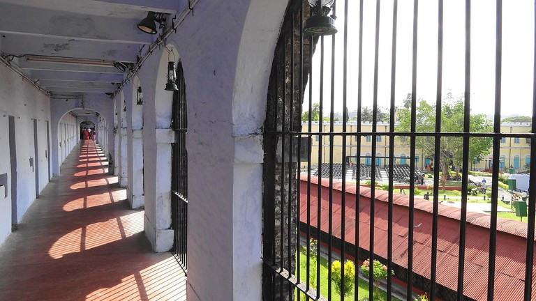 The corridor leading to the individual cells inside Cellular Jail