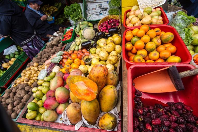 Produce at a market in Bogotá