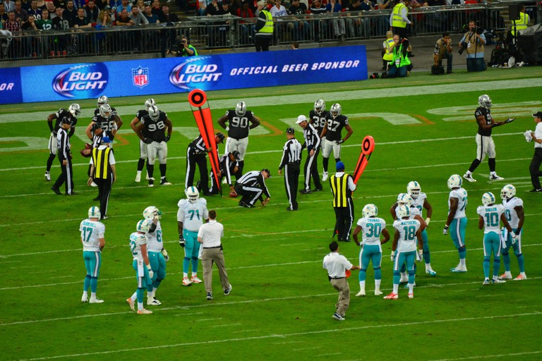 Miami Dolphins playing the Oakland Raiders