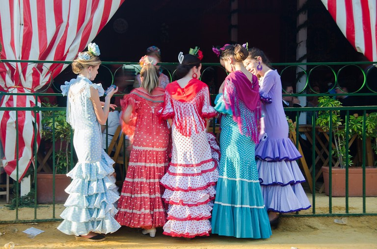 Women in traditional dress at Seville's April Fair