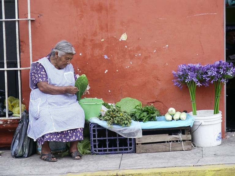 A Mexican lady prepares nopales, a popular snack on Good Friday