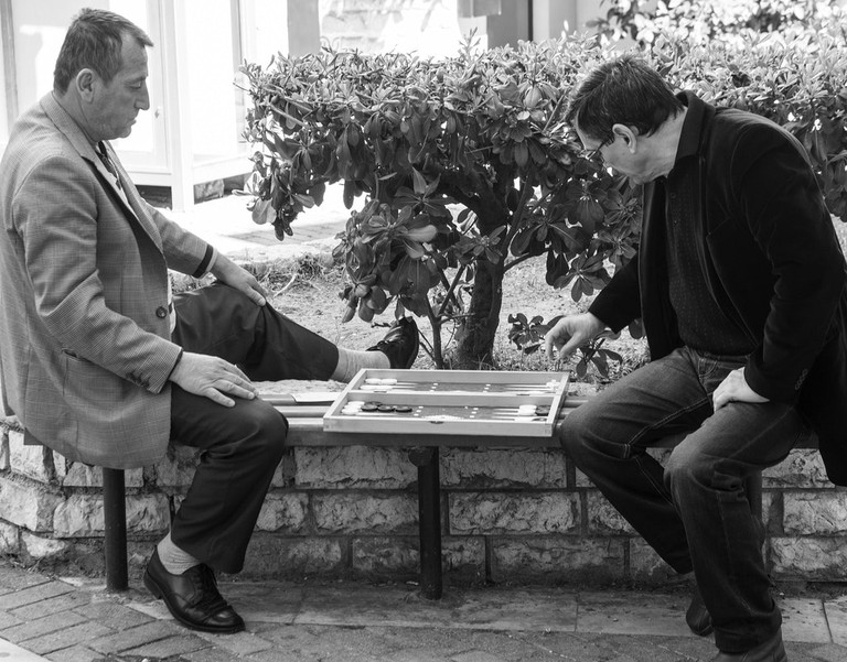 A game of backgammon in Greece