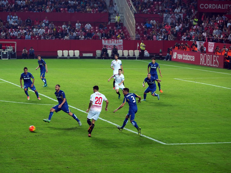 Sevilla (in white) in action against fellow Spanish team Getafe at home in 2015