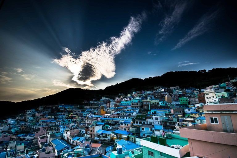 Dramatic clouds gather over Gamcheon Culture Village