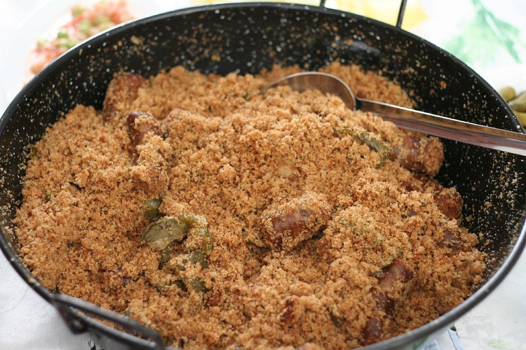 Migas, fried bread crumbs or flour