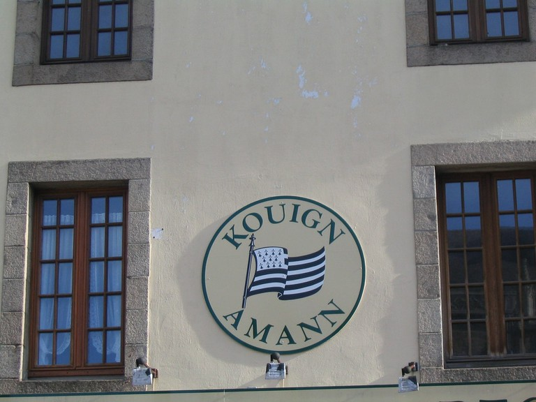 Kouign-amann building sign in Brittany