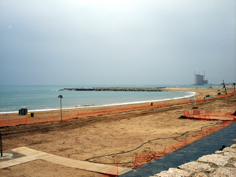 One of Barcelona's beaches in the winter