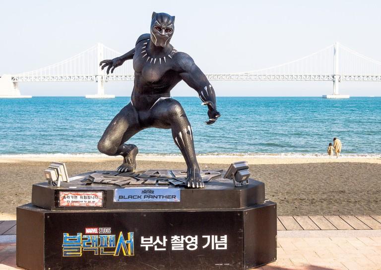 Black Panther statue on Gwangalli Beach, Busan