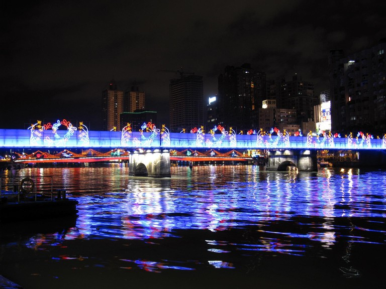 View of the illuminated walkways at Love River