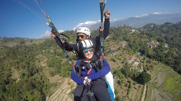 Paragliding over Pokhara, with the Annapurna Himalaya in the background