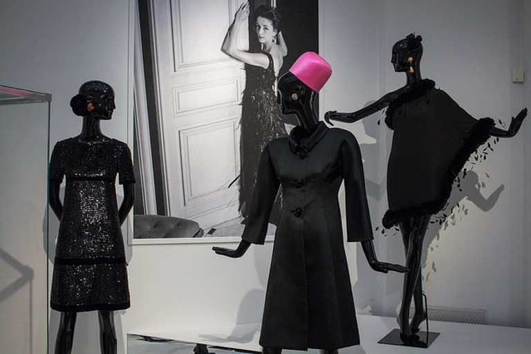 A collection of Givenchy dresses on display at the Hubert de Givenchy exhibition