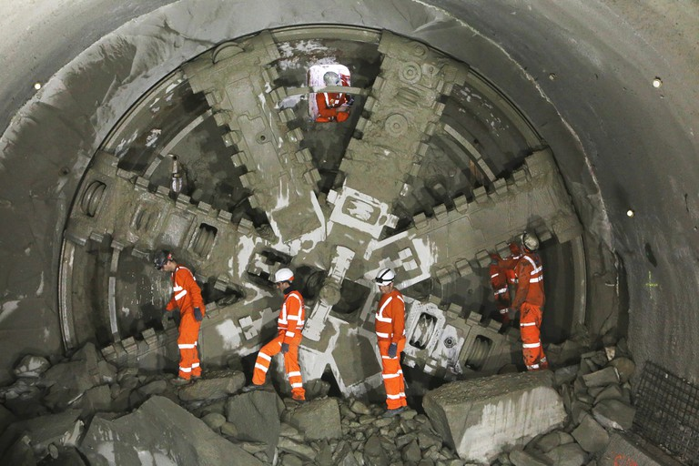 The tunnel boring machines used for the Crossrail project that have evolved since Brunel's first shield concept