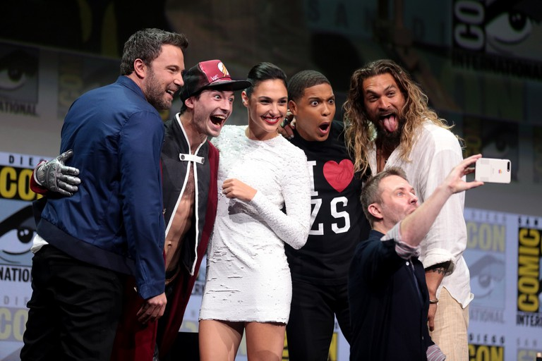 Ben Affleck, Ezra Miller, Gal Gadot, Ray Fisher and Jason Momoa at the 2017 San Diego Comic-Con International to promote Justice League