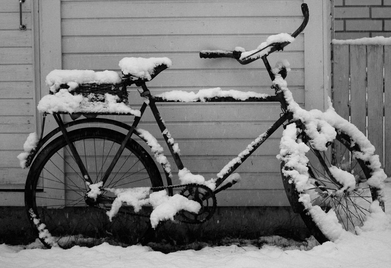 November snows can cause trouble for cyclists