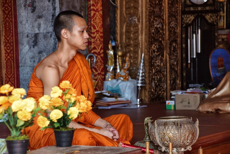 Monk in a Thai temple