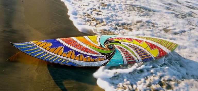 Mosaic surfboard by Cherrie La Porte