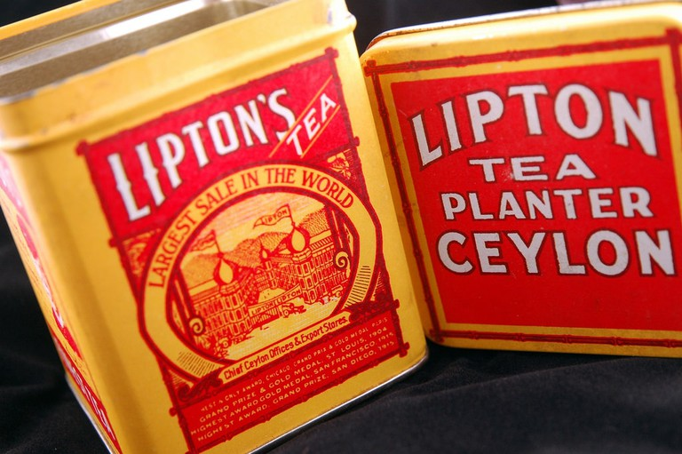Antique Lipton Tea cans