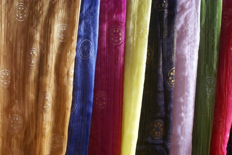 Rolls of silk for sale in Vietnam