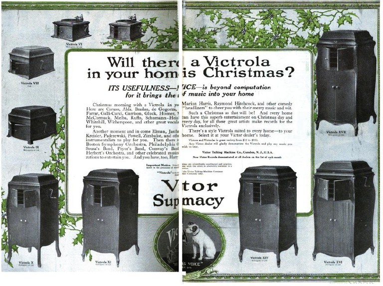 A magazine ad for the complete line of Victor Victrolas