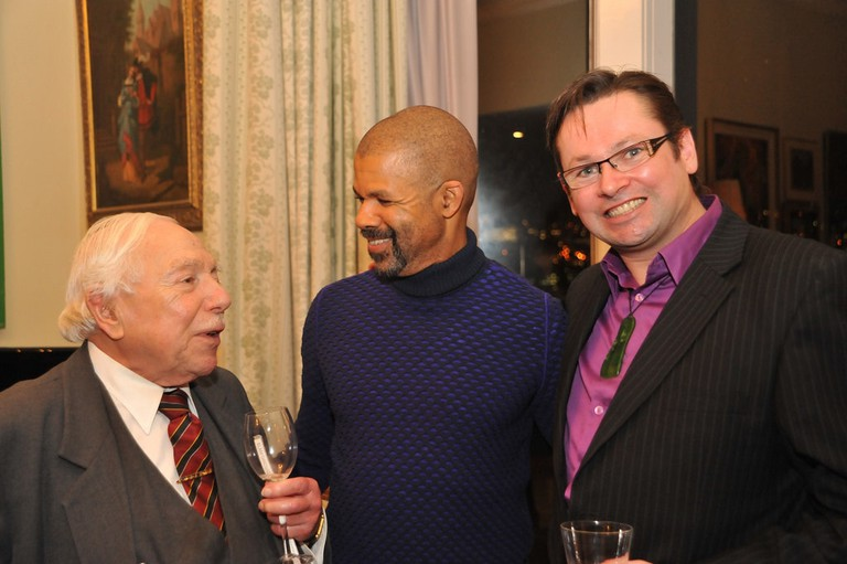 Composer Gareth Farr (right) at a cultural event held by the US Embassy in New Zealand