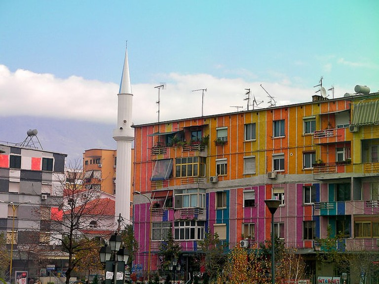 Multi-colored houses in Tirana