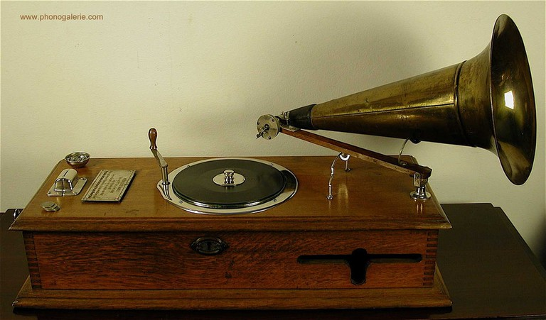 One of Berliner's earliest inventions, a coin-operated gramophone