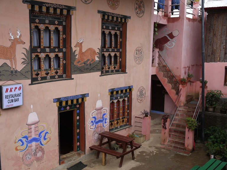 Decorated restaurant bar near Chimi Lhakhang