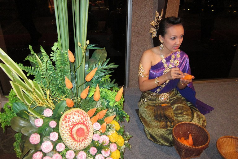 Traditional Thai vegetable carving