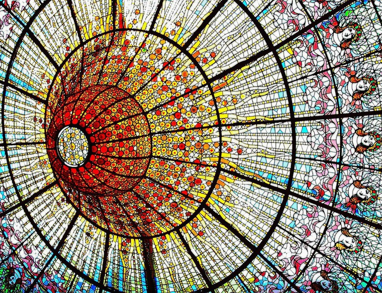 Detail for the stained-glass ceiling of the Palau de la Música