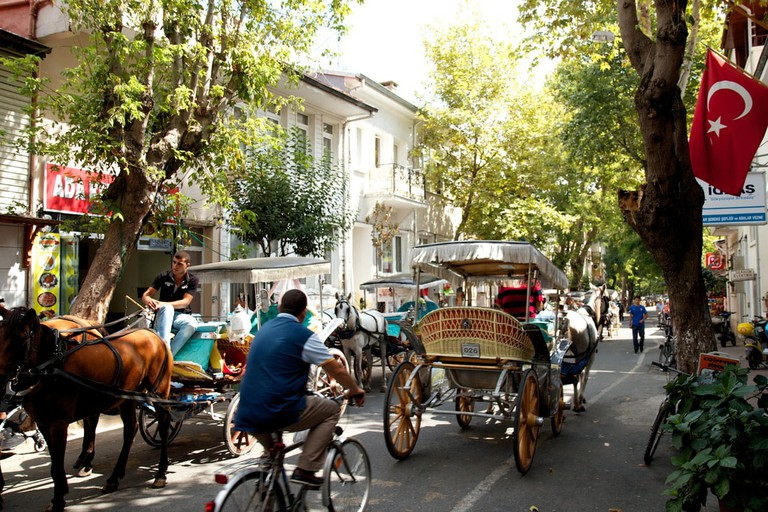 The famous horse-drawn carriages in Büyükada's town centre