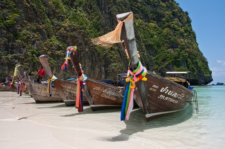 Longtail boats on the sands of Koh Phi Phi