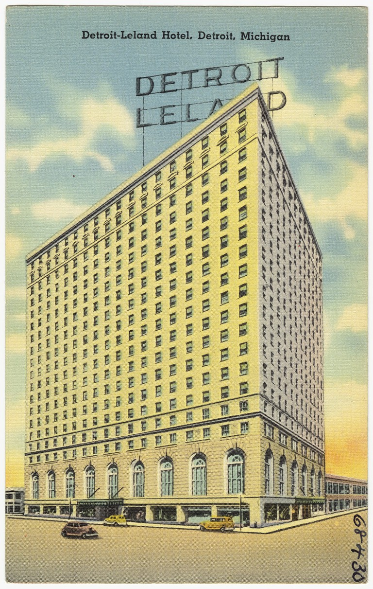 A postcard for the Detroit-Leland Hotel