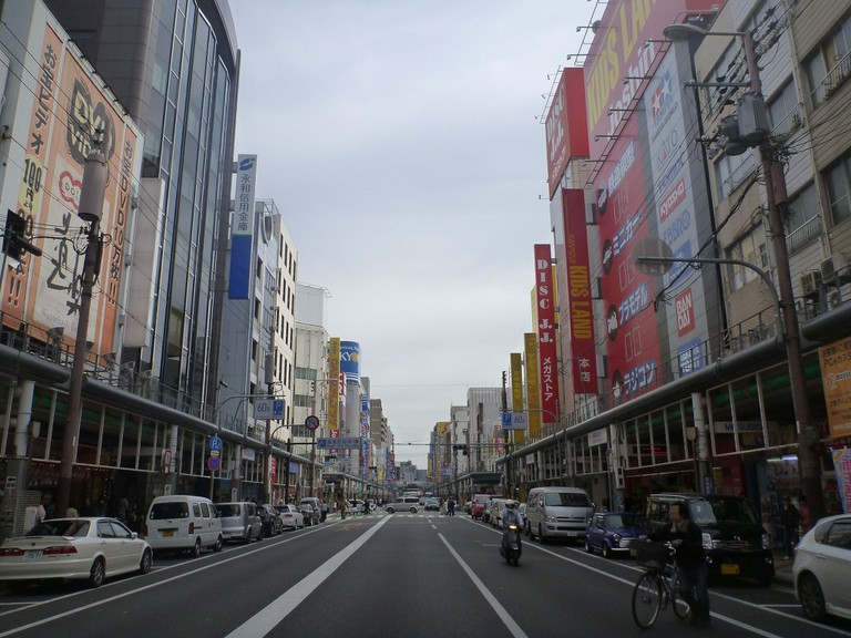 The wide main street of Nipponbashi is populated mostly by electronics stores.